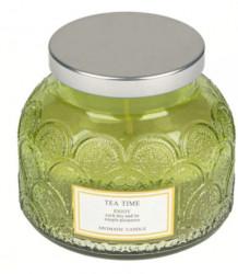 """Lumânare verde aromată în borcan rotund cu ceai verde cu capac de argint """"Bucurați-vă de fiecare zi"""" 8x9,3 cm"""