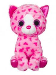 Pisica de plus roz, ochi sclipici, 40 cm