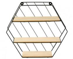 Raft decorativ 3 nivele, lemn - metal, 35x9x30.5cm