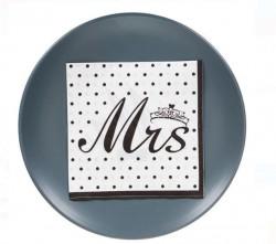 Servetele 12 buc albe cu design Mr & Mrs