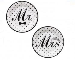 Set de farfuri albe cu design Mr & Mrs 18 cm
