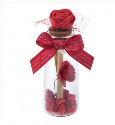 Sticluta cu mesaj papirus si trandafir - Valentine's Day - 9 cm