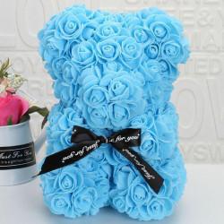 Ursulet din spuma, 25 cm, bleu, cutie cadou