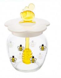 Borcan pentru miere din sticlă cu lingură 7x10