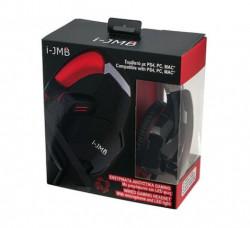 Casti audio gaming I-JMB compatibil PS4/PC/MAC, Negru/Rosu