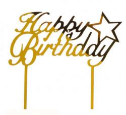 Decoratiune pentru tort Happy Birthday aurie