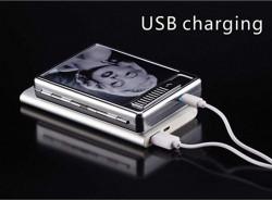 Tabachera cu bricheta smart USB - model gravat pe suprafata din piele