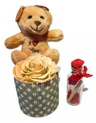 Trandafir criogenat XL, cu ursulet de plus si sticluta mesaj