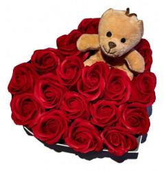 Trandafiri de sapun parfumati in cutie inima - atingere reala + ursulet plus + sticluta cu mesaj