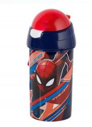 Bidon apa pentru copii cu mecanism pop-up si design Spiderman