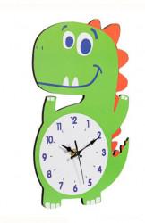 Ceas de perete - Dinozaur din lemn pentru copii - 30x18x0,5 cm