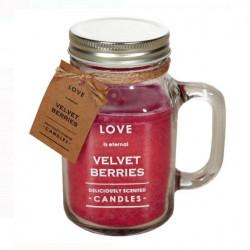 Lumanare rosie parfumata in borcan cu capac si maner - Dragostea este eterna - 8x14,5 cm