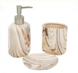 Set baie ceramica efect lemn 3 bucati
