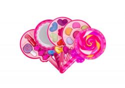 Trusa de machiaj pentru fetite in forma lollipop cu luciu de buze, lac de unghii, fard de ochii,9x17x7 cm