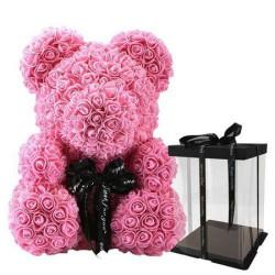 Ursulet din spuma, 25 cm, roz, cutie cadou