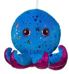 Caracatita de plus, albastra, stele colorate, ochi sclipici, 15 cm