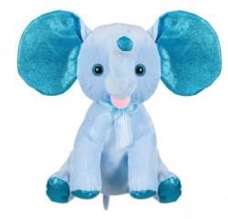 Elefant de plus, albastru, urechi sclipici, 21 cm