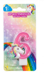Lumanare aniversara cu model unicorn nr. 6