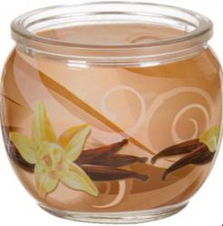 Lumânare aromată Ecru în sticlă rotundă, Vanilie, 6,5x6,8 cm
