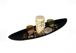 Set baza din lemn, lumanari si pahare, 50 cm latime, 12.5 cm inaltime