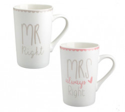 Set cani Mr right Mrs right, 350ml, 8x12cm