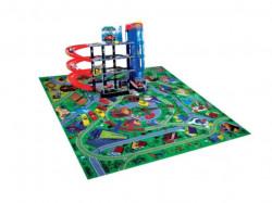 Set de joaca parcare 4 nivele si 6 masini + covoras, 75x10x50 cm