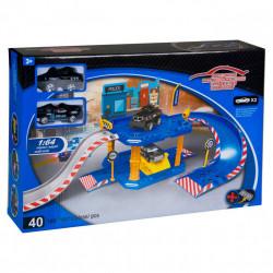 Set garaj politie cu 2 vehicule - 55x24x19 cm