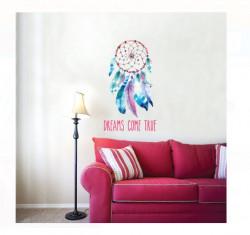 "Sticker de perete - Dreamcatcher Mesaj ""Visele devin realitate"" - 50x32 cm"