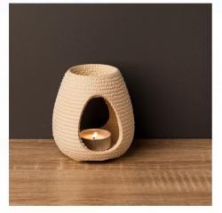 Suport alb pentru lumanare din ceramică cu model in relief pentru aromaterapie