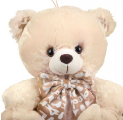 Ursulet de plus bej cu papion, 28 cm