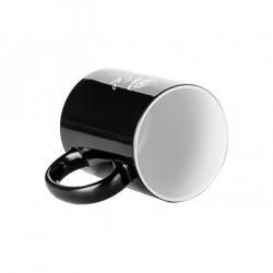 Cana termosensibila, personalizata - negru cu trandafir alb, 350 ml