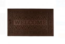 Covor de ușă cu modele în relief maro - Bine ati venit - 75x45 cm