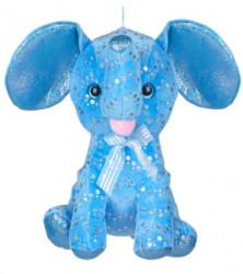 Elefant de plus, albastru, paiete, 32 cm