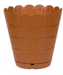 Ghiveci din plastic cu farfurie incorporata - 6 litri