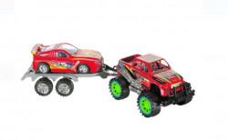 Jucărie Jeep pentru băieți cu remorcă și vehicul roșu