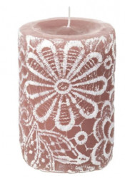 Lumanare coloana, Model flori reliefate dantela, 6x10 cm