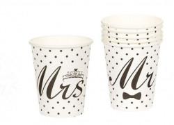 Pahare carton 6 buc 270ml albe cu design Mr & Mrs