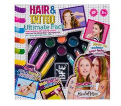 Set creativ pentru fete, model tatuaje si parul vopsit, 30x5x30 cm, multicolor