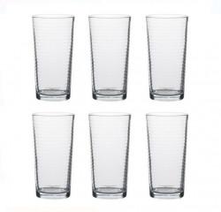 Set pahare transparente de apă cu dungi 6 buc