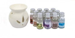 Suport lumanare de lut alb cu 12 sticle de ulei aromat de 12 ml