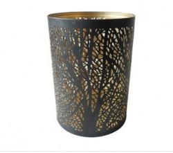 Suport lumanare metalic negru in forma de pahar cu design perforat, 11 X 15 CM
