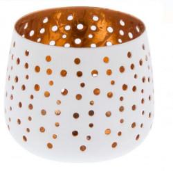 Suport pentru lumnare din metal perforat cu cercuri