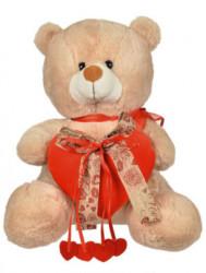 Urs de pluș bej cu inimă roșie și panglici 39 cm