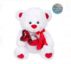 Ursulet alb din plus cu 3 inimioare cu paiete - 60cm
