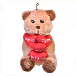 Ursulet de plus cu 4 inimi - te iubesc in diferite limbi - 30cm