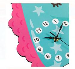 Ceas de perete - Unicorn din lemn pentru copii - 30x27x0,5 cm