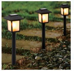 Lanternă solară LED cu efect de flacără 8x8x37 cm