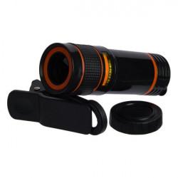Lentila Optica Profesionala MCT cu Zoom x12 pentru telefoane mobile, cu clema de prindere, negru