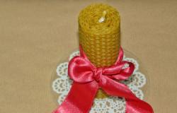 Lumanare ceara naturala de albine, 10 cm - fitil 100% bumbac