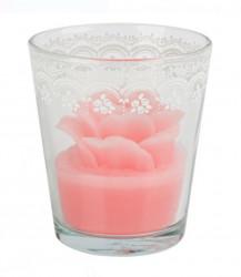 Lumanare roz trandafir in pahar cu model dantela alba - 9x10 cm